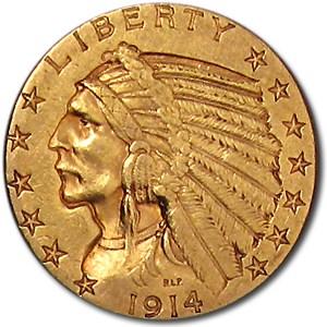 1914-D $5 Indian Gold Half Eagle XF