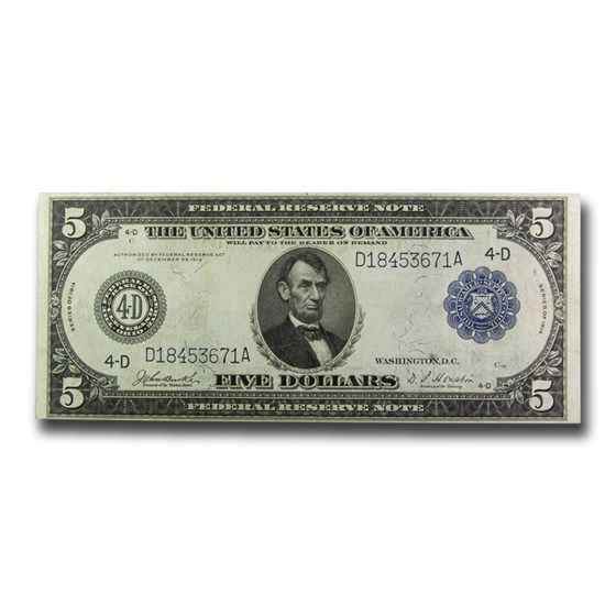 1914 (D-Cleveland) $5.00 FRN VF (Fr#858)