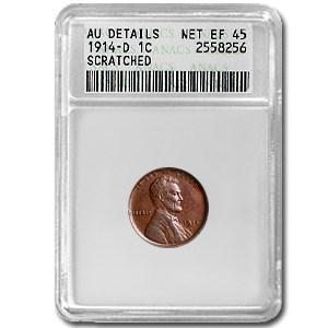 1914-D Lincoln Cent AU Details ANACS (Minor Obv Scratch)