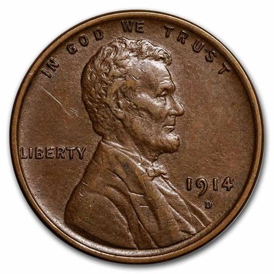 1914-D Lincoln Cent AU