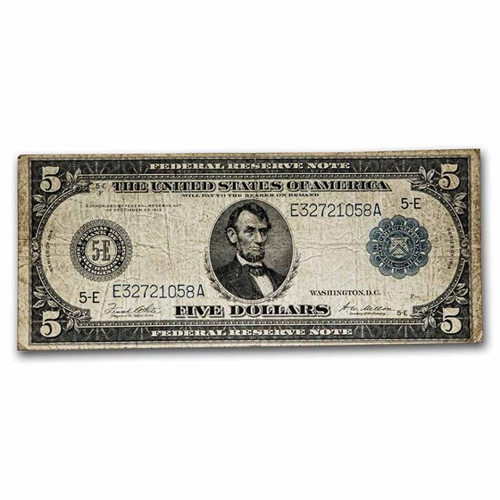 1914 (E-Richmond) $5.00 FRN Fine (Fr#863A)