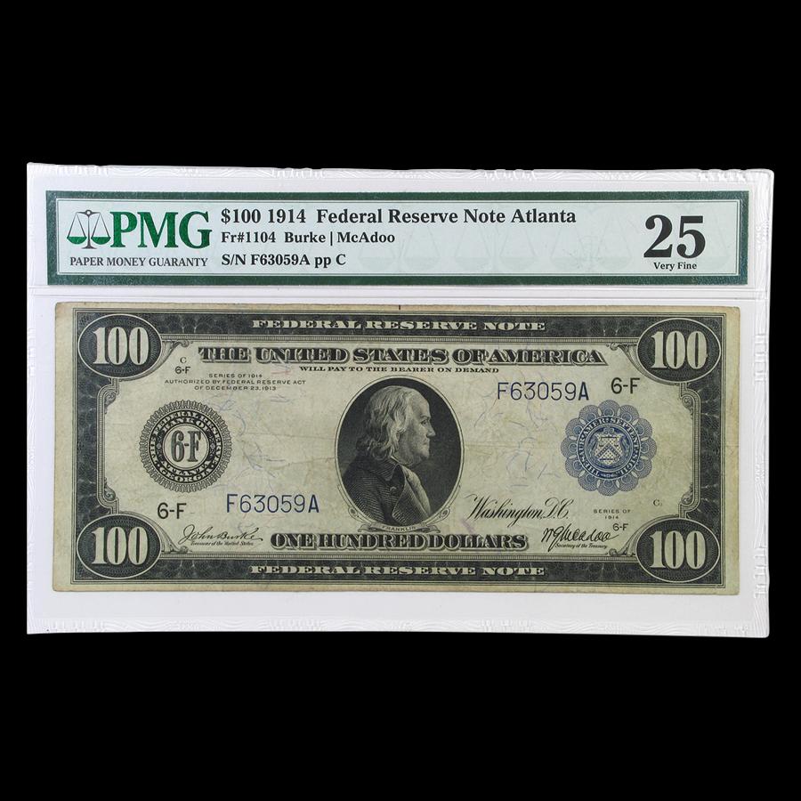 1914 (F-Atlanta) $100 FRN VF-25 PMG