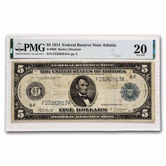 1914 (F-Atlanta) $5.00 FRN VF-20 PMG (Fr#866)