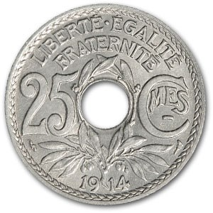 1914 France 25 Centimes BU (Center Hole Issue)