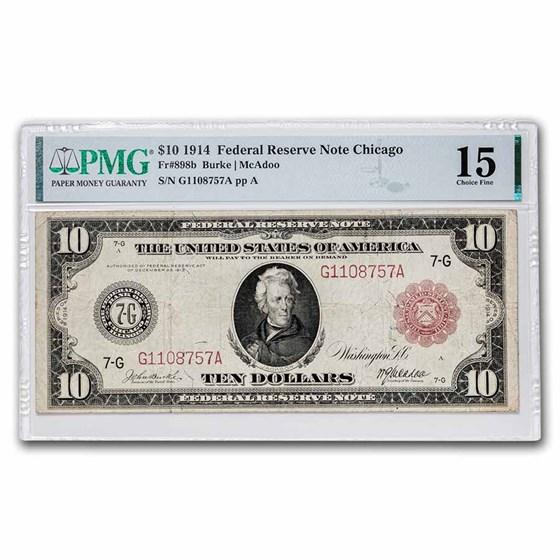 1914 (G-Chicago) $5.00 FRN CH F-15 PMG (Fr#898B) Red Seal