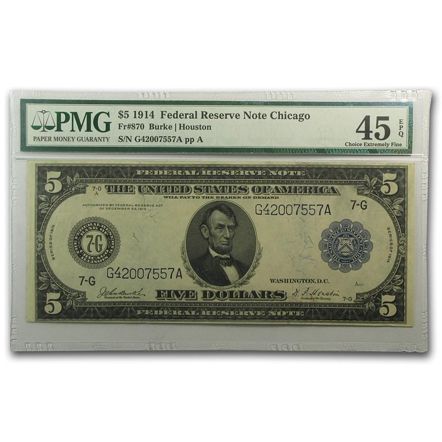 1914 (G-Chicago) $5.00 FRN Ch XF-45 EPQ PMG