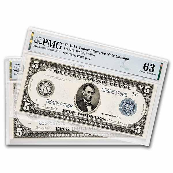 1914 (G-Chicago) $5.00 FRN CU-63/64 PMG (Fr#871b) 2 Consecutive