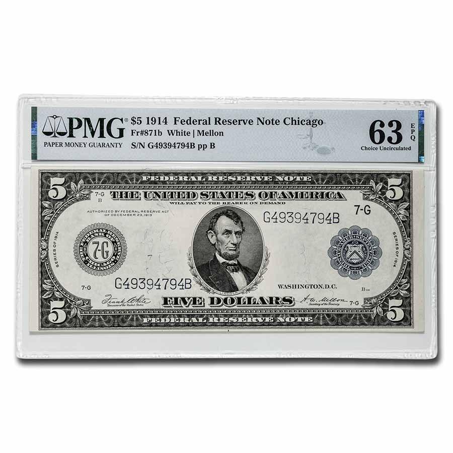 1914 (G-Chicago) $5.00 FRN CU-63 EPQ PMG (Fr#871b)