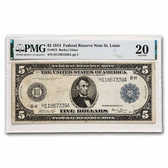 1914 (H-St. Louis) $5.00 FRN VF-20 PMG (Fr#873)