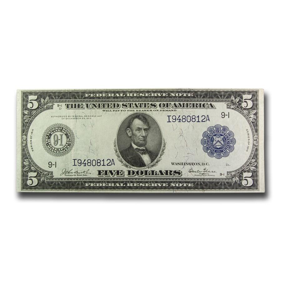 1914 (I-Minneapolis) $5.00 FRN VF (Fr#877)