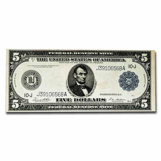1914 (J-Kansas City) $5.00 FRN AU (Fr#833A)