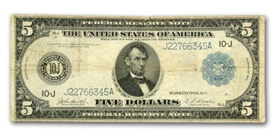 1914 (J-Kansas City) $5.00 FRN Fine (SN#J22766345A)