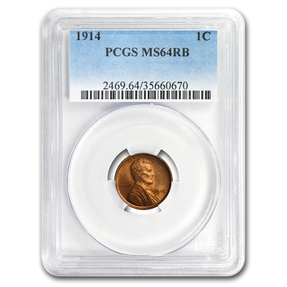 1914 Lincoln Cent MS-64 PCGS (Red/Brown)