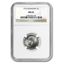 1914 Romania Silver 2 Lei MS-63 NGC