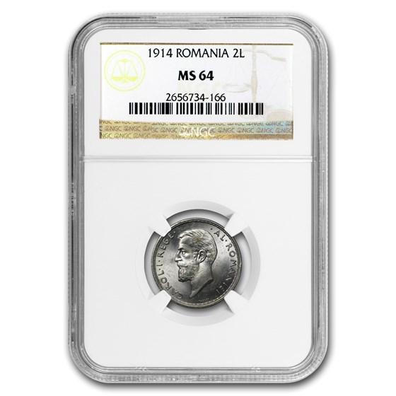 1914 Romania Silver 2 Lei MS-64 NGC