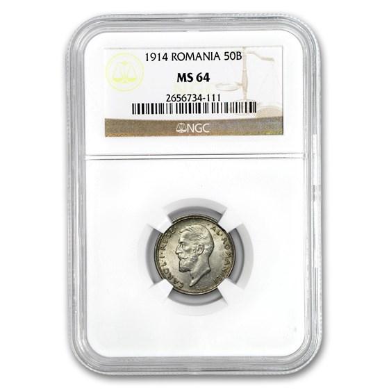 1914 Romania Silver 50 Bani Carol I MS-64 NGC