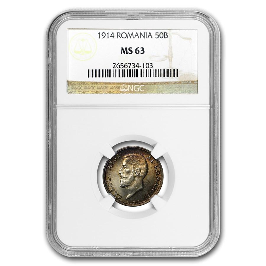 1914 Romania Silver 50 Bani MS-63 NGC