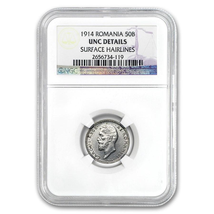 1914 Romania Silver 50 Bani Unc Details NGC