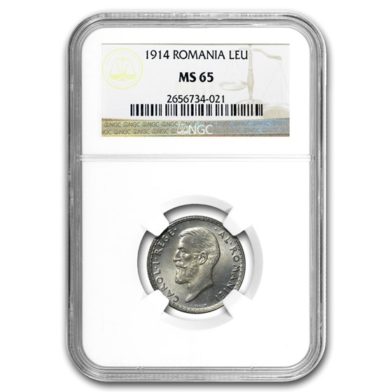 1914 Romania Silver Leu MS-64 NGC