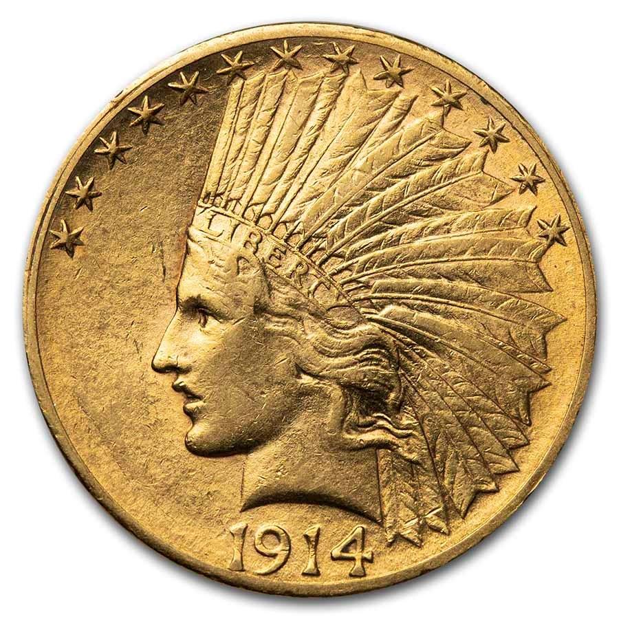 1914-S $10 Indian Gold Eagle AU