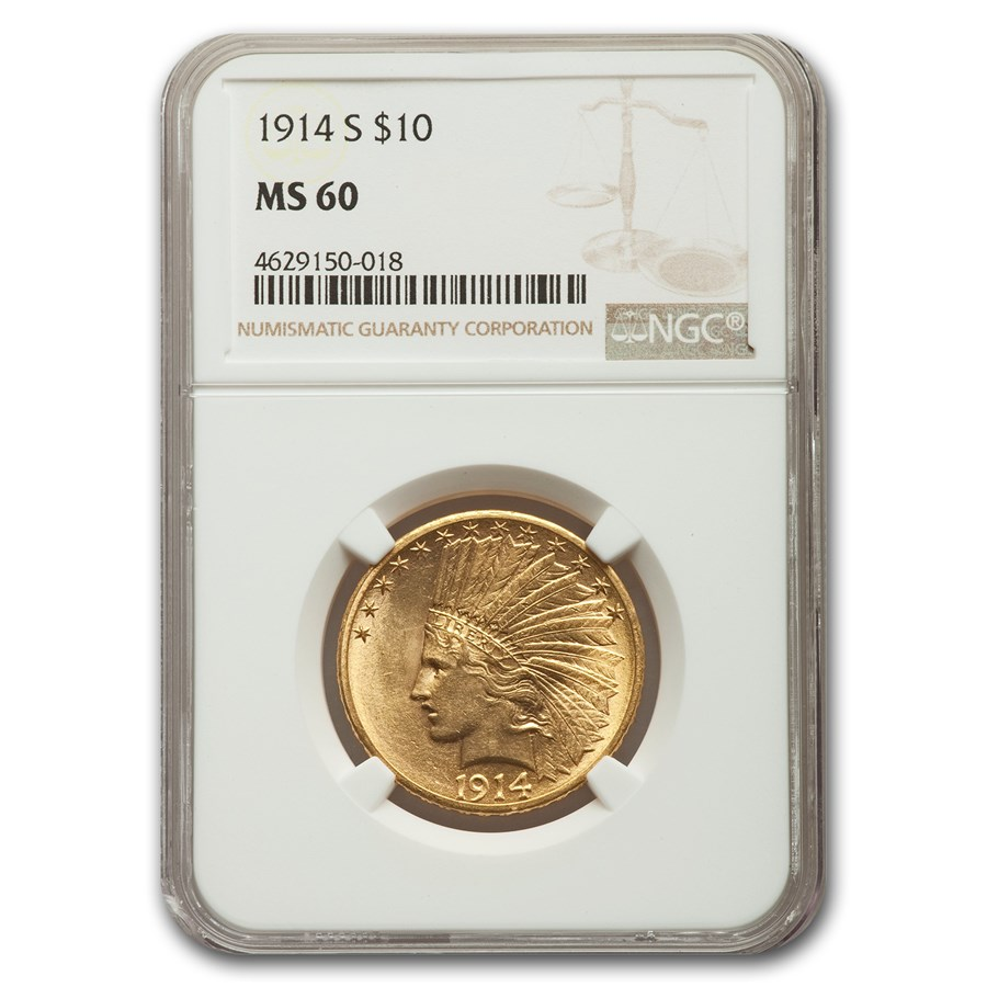 1914-S $10 Indian Gold Eagle MS-60 NGC