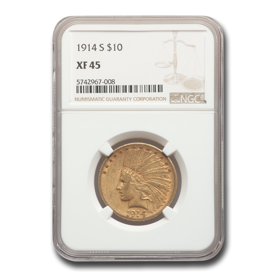 1914-S $10 Indian Gold Eagle XF-45 NGC