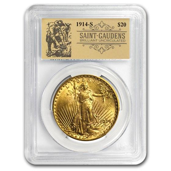 1914-S $20 Saint-Gaudens Double Eagle BU PCGS (Prospector Label)