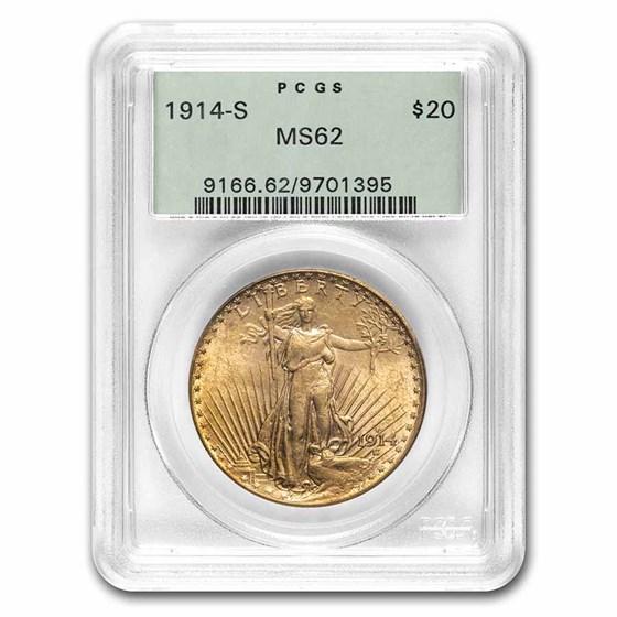 1914-S $20 Saint-Gaudens Gold Double Eagle MS-62 PCGS (OGH)