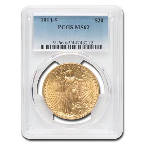 1914-S $20 Saint-Gaudens Gold Double Eagle MS-62 PCGS