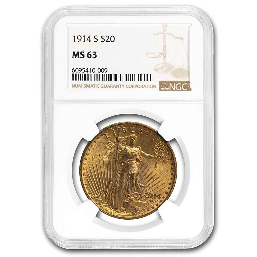 1914-S $20 Saint-Gaudens Gold Double Eagle MS-63 NGC