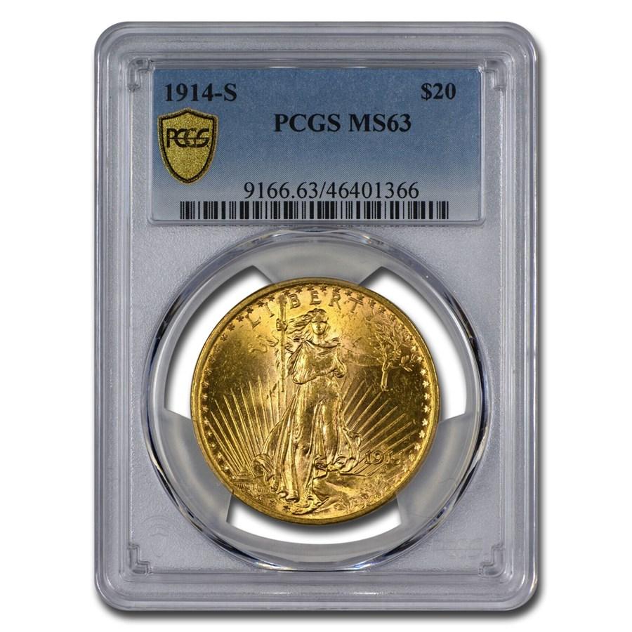 1914-S $20 Saint-Gaudens Gold Double Eagle MS-63 PCGS