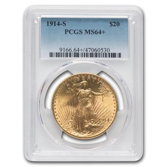 1914-S $20 Saint-Gaudens Gold Double Eagle MS-64+ PCGS