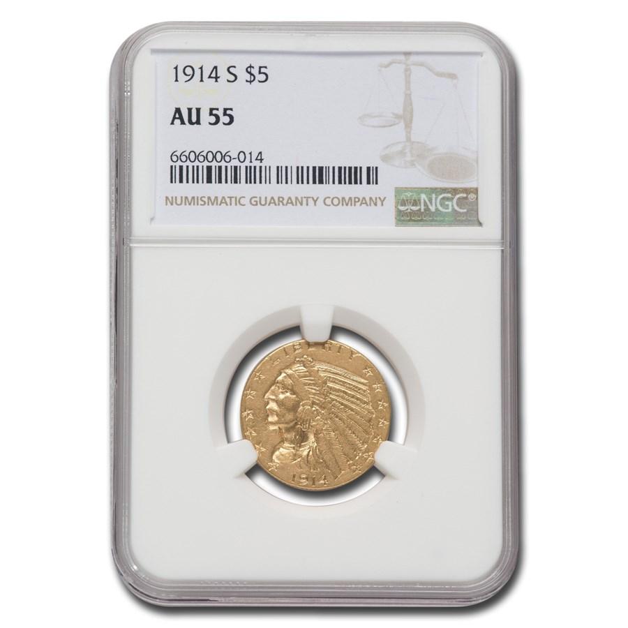 1914-S $5 Indian Gold Half Eagle AU-55 NGC