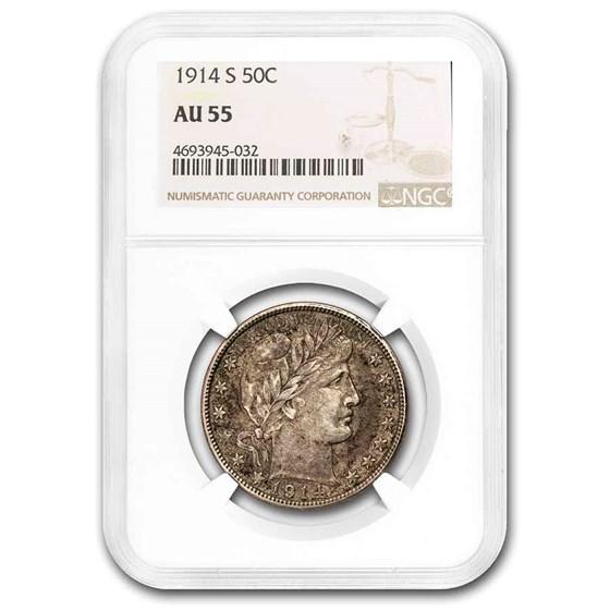 1914-S Barber Half Dollar AU-55 NGC
