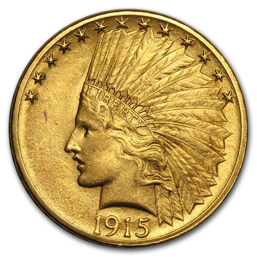 1915 $10 Indian Gold Eagle AU