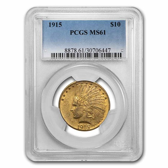 1915 $10 Indian Gold Eagle MS-61 PCGS
