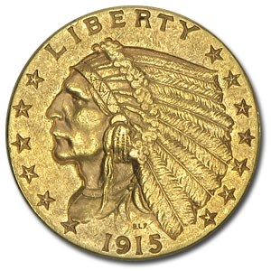 1915 $2.50 Indian Gold Quarter Eagle AU