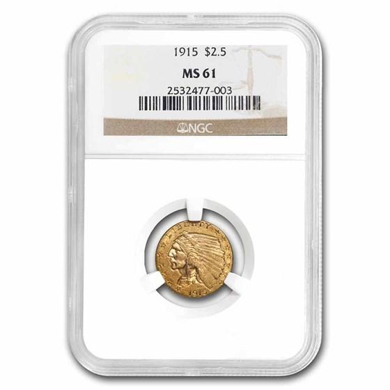 1915 $2.50 Indian Gold Quarter Eagle MS-61 NGC