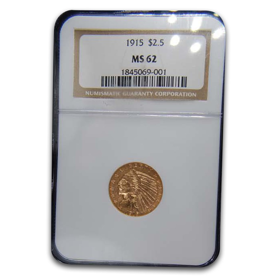 1915 $2.50 Indian Gold Quarter Eagle MS-62 NGC