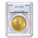 1915 $20 Saint-Gaudens Gold Double Eagle MS-62 PCGS