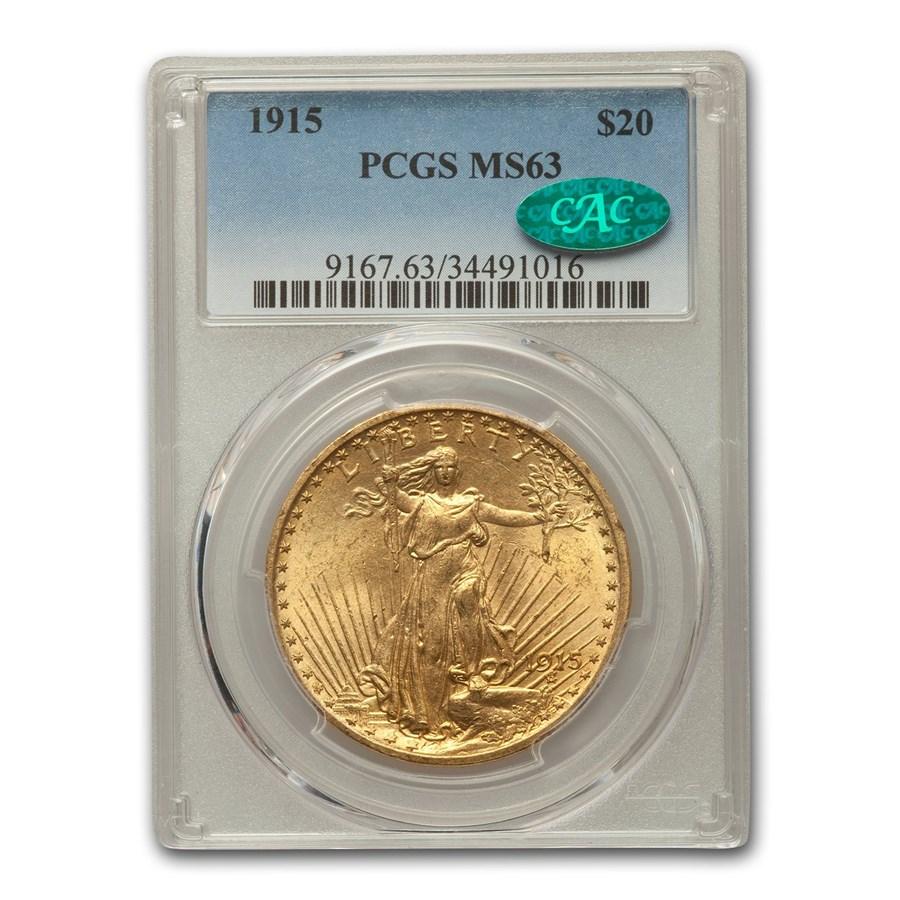 1915 $20 Saint-Gaudens Gold Double Eagle MS-63 PCGS CAC