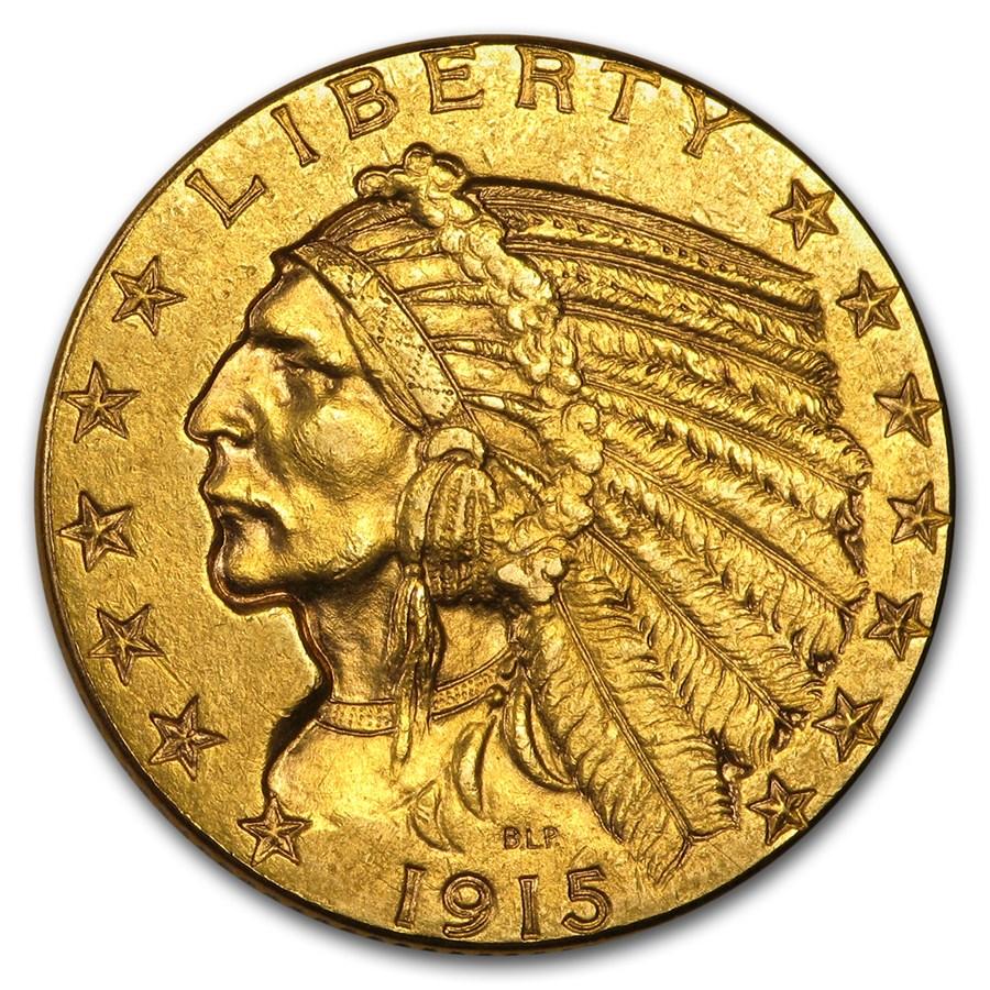 1915 $5 Indian Gold Half Eagle AU