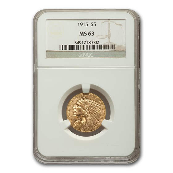 1915 $5 Indian Gold Half Eagle MS-63 NGC