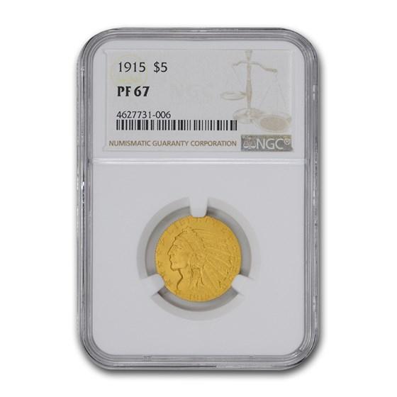 1915 $5 Indian Gold Half Eagle PF-67 NGC