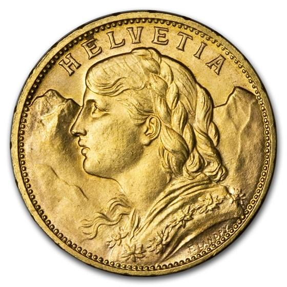 1915-B Swiss Gold 20 Francs Helvetia BU