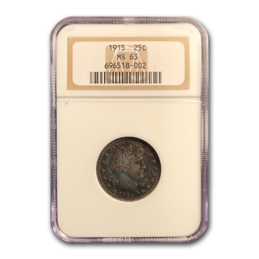 1915 Barber Quarter MS-63 NGC