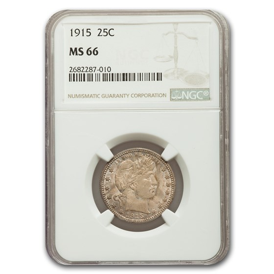 1915 Barber Quarter MS-66 NGC