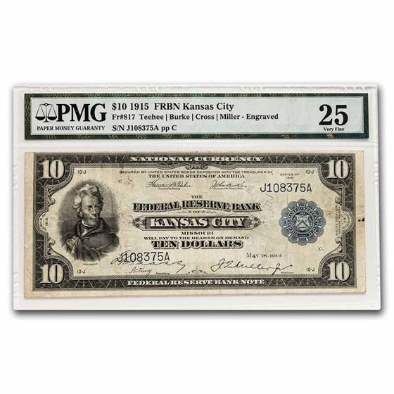 1915 (J-Kansas City) $10 FRBN VF-25 PMG (Fr#817A1)