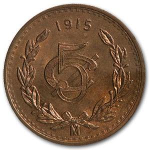 1915 Mexico 5 Centavos Bronze BU Red Details KM#422