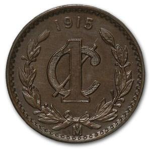 1915 Mexico Centavo Bronze BU Brown KM#415